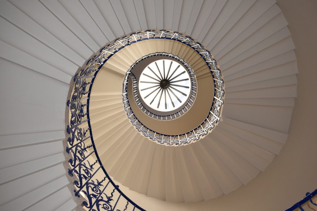 spiral staircase looking up